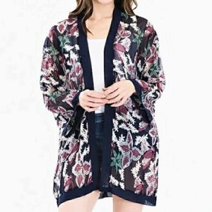 NEW Tropical Floral Georgette Navy Kimono Cover Up